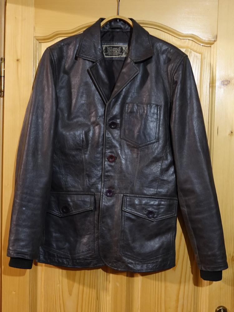 Элегантная фирменная кожаная куртка в стиле пиджака blend дания. s. фото №1