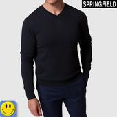 Мужской джемпер хлопок-кашемир Springfield р. S. Идеальное состояние. кофта, свитер, черный