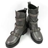 Стильные серебряные ботинки р.36,38,39