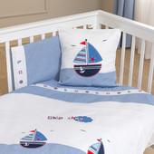 Набор постельного белья Marine (3 предмета) Funna Baby 3803 Турция бело-голубой 12126052