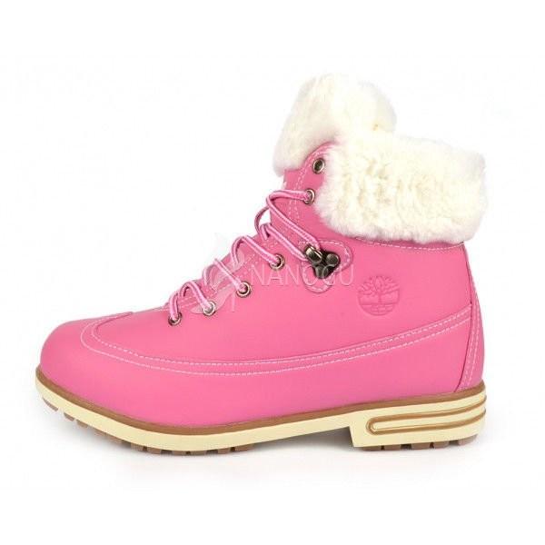 Ботинки кожа на меху timberland pink женские зимние розовые фото №1