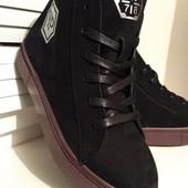 Кожаные зимние ботинки Philipp Plein высокого качества!Красивые,модные и очень тёплые!Натуралки