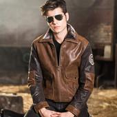Мужская натуральная кожаная куртка из свиной кожи размер 4xl