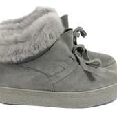 Зимние замшевые ботиночки серые Prima d'Arte