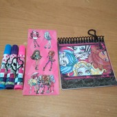 Набор:блокнот, фломастера 3, наклейка Monster High