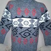 Теплый мужской свитер. 50% шерсть. Размер 50-52.
