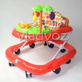 Детские ходунки музыкальная панель тормоз Bamby с пальмой звук красные