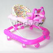 Детские ходунки музыкальная панель тормоз Baby Angel малиновые