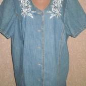 Джинсовая рубашка на лето, батал, 58-60р. смотрим замеры.