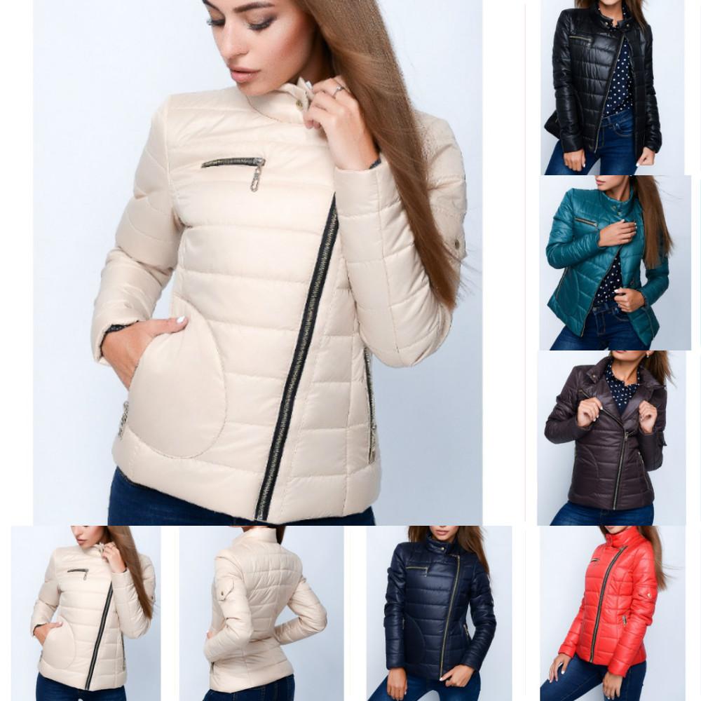 Короткая оригинальная куртка из плащевой ткани с воротником, разные цвета фото №1