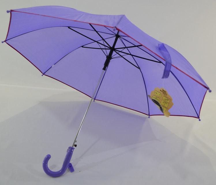 Зонт трость детский школьный однотонный для девочки 5-10 лет лиловый розовый красный фото №1