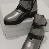 Зимние ботинки, кожа натуральная, цвет никель , черные , c 36-40р.