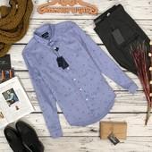 Голубая рубашка с легким принтом Zara  BL51057