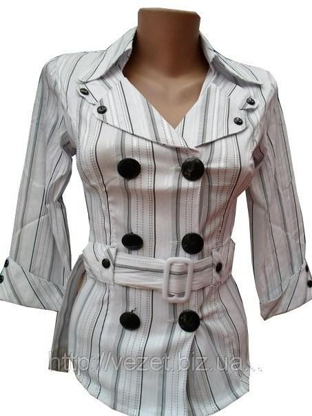 Приталенная рубашка-блуза с глянцевыми пуговицами и бляшкой.   Осталась S (полномерная) фото №1