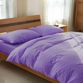 Комплект льняного постельного белья сиреневый №527