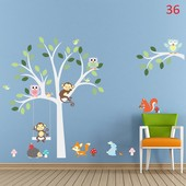 Дерево животные наклейки на стіну стену стены