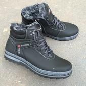 Отличные мужские зимние ботинки черного цвета, М151