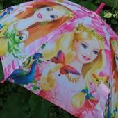Красивенный детский зонт Барби для девочки 5-8 лет Круглая хорошая спица