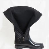 13-46401-627 Женская обувь, силиконовые сапоги, средняя высота, цвет- черный, размеры 35-40