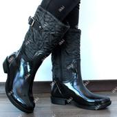 Резиновые утепленные женские сапоги черные  Ч 12н