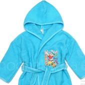 Халат махровый на 2-3 года от  Eymir голубой белый девочке мальчику в бассейн после ванны