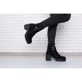 Замшевые ботинки на устойчивом каблуке, деми