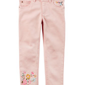 Скинни для девочки от Carter's с цветочной вышивкой, одежда из США