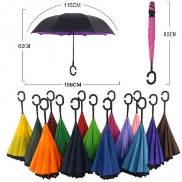 Смарт зонт наоборот upbrella антишторм женский мужской однотонный. качество фото №1