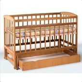 Кровать детская на шарнирах+ящик (1200*600)(бук)1790008