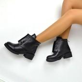 Ботинки Hermes черные Натуральная кожа, кожаные ботинки Болты