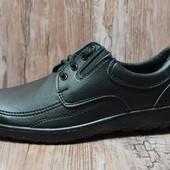 Мужские прошитые туфли с резинкой - черные (МК-07)