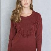 Оригинальный свитерок марсала с бахромой