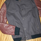 мужская куртка - бомбер размер л . рукав кожа
