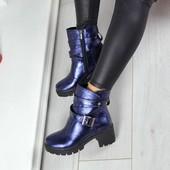 Ботинки синие Натуральная кожа, кожаные ботинки на каблучке, кожаные весенние ботинки