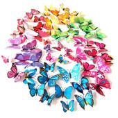 3D Бабочки 12 шт магнит +наклейка на стену на холодильник декор метелики
