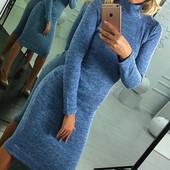 Платье-футляр 40-52рр удлиненное, горло стойка  Ангора меланж