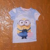6-8 лет, р. 116-128, футболка для девочки Minion Illumination