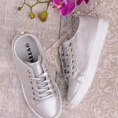 Женские стильные кеды серебристого цвета