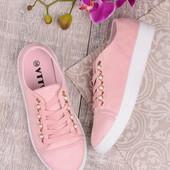 Женские стильные замшевые розовые кеды