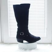New Look стильные высокие сапоги 40рр черные замша пряжки низкий каблук весна