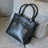 #88497 Black Женская деловая сумка Внутри два отделения