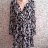 Разноцветное черное платье от Mango ! размер s
