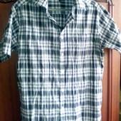 Мужская рубашка на лето, жатка, х\б, XL