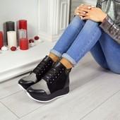 Высокие стильные кроссовки кожаные