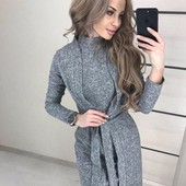 Теплый костюм двойка платье футляр + пиджак кардиган