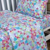 Комплект детского постельного белья Сердечки, поплин