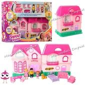 Кукольный домик 16526A, звуковые и световые эффекты, мебель, фигурки собака папа мама дочь