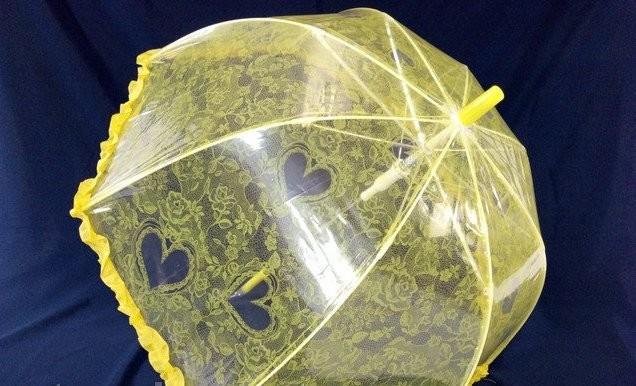 Качественный ажурный прозрачный купольный детский зонт зонтик для девочки фото №1