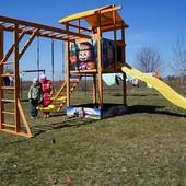 Детский игровая комплекс, площадка с горкой. Качели, рукоход, песочница.