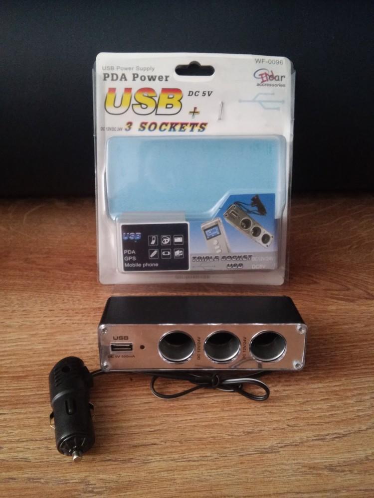 Автомобильный тройник в прикуриватель, разветвитель с USB входом 0096W фото №1
